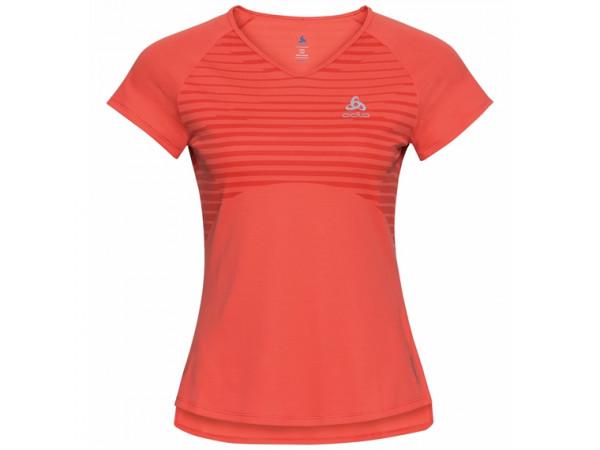 Odlo Women's CERAMICOOL BASE LAYER PRINT T-Shirt 312741-30649 Hot Coral