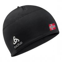 Odlo POLYKNIT FAN WARM Hat 772120-CHFBL black - NORWEGIAN flag